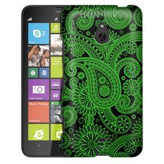 Nokia Lumia 1320 Paisleys Outline Green on Black Slim Case