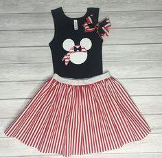 Pirate Minnie Shirt Skirt & Bow Set Cruise by ChicDesignsStudio