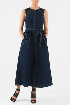 Trapunto sash tie poplin midi dress #eShakti
