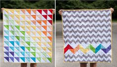 "Fun little ""Rainbow Baby Quilt"" (with tutorial) by Crystal Motes."