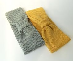 Pure Merino Knit Headband Earwarmer, Gray Knit Headband, Mustard Knit Headband  ~ Crochet Addict UK Thursday's Handmade Love Week 83 ~ Theme: Earwarmers ~ includes links to #free #crochet patterns