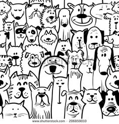Black and white doodle dogs and cats seamless - stock vector