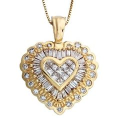 14K Yellow Gold Pave Diamond Heart Pendant Necklace 1 CTW - http://www.wonderfulworldofjewelry.com/jewelry/necklaces/pendants/14k-yellow-gold-pave-diamond-heart-pendant-necklace-1-ctw-com/ - Your First Choice for Jewelry and Jewellery Accessories