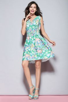 Clothing  Dress-y and Skirts · Jinhuanshow Women s Low Cut Floral Printed  Above Knee Dresses Flower15 Prom Dresses For Teens d50924cff