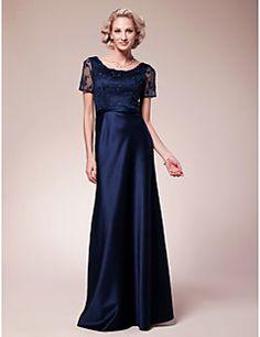 Sheath/Column Plus Sizes / Petite Mother of the Bride Dress - Dark Navy Floor-length Short Sleeve Lace / Satin