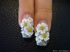 Acrylic nail inspiration 3d Nail Art, 3d Acrylic Nails, 3d Nails, Bling Nails, Rhinestone Nails, 3d Flower Nails, Diamond Nail Art, 3d Nail Designs, Nagel Bling