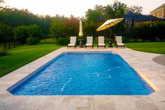 Vinyl liner swimming pool with sun deck and full width - A rectangular swimming pool is 30 ft wide ...