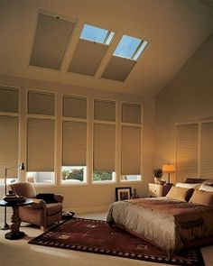 Hunter Douglas cellular shades and honeycomb shades conserve energy reducing your energy bills year round. Insulate with cellular shades & honeycomb shades. Skylight Shade, Skylight Blinds, Skylight Window, Skylights, Skylight Covering, Roof Window, Bedroom Blinds, Bedroom Windows, Curtains With Blinds