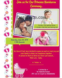 Send free Online invitations with RSVP for wedding, indian festivals and events, Announcements and eGreetings. Invitation Card Maker, Invitation Card Format, Invitation Card Design, Invitation Wording, Invite, Free Birthday Invitations, Create Invitations, Online Invitations, Naming Ceremony Invitation