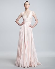 Carmen Marc Valvo Couture Plunge-Neck Chiffon Gown - Neiman Marcus