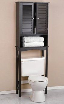 Espresso Bathroom Louvre Etagere for extra storage #GIVEAWAY http://www.bellasavvy.net/archives/52990
