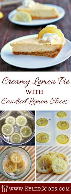 A creamy but tart lemon pie baked in a glorious buttery graham crust, topped with whipped cream and candied lemon slices. Delicious and easy!