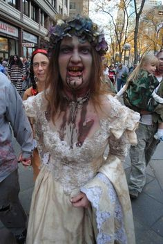 Awesome makeup at a #zombie crawl