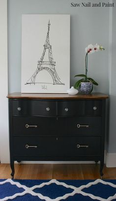 black dresser with vintage inspired key pulls, painted furniture, repurposing upcycling