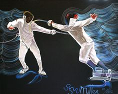 "2012 Tarheel Cup Team Painting Award for Epee  16"" x 20""  Acrylic on canvas  http://venusmirror.com/FencingPaintings.html"