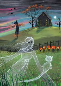 Shop Ghost Friends Halloween Card by Molly Harrison created by robmolily. Halloween Art Projects, Halloween Canvas, Easy Halloween Crafts, Halloween Painting, Halloween Signs, Halloween Pictures, Spooky Halloween, Holidays Halloween, Rustic Halloween
