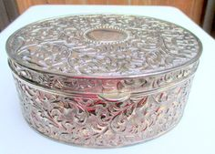 Vintage Silver Trinket Box Oval and Ornate by vintage2you on Etsy