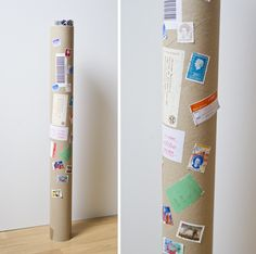 Wrapping-paper-storage. Tube with old mail-stickers and stamps on it.