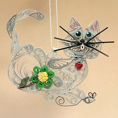 Quilled / Filigree Kitty Cat Hanging Ornament by AGiftwithinaGift, $26.50