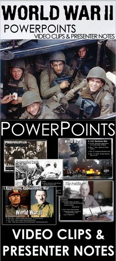 World War II PowerPoint with video clips and presenter notes is packed with maps, primary source documents, stunning visuals, and embedded video links, everything you need to keep your students engaged This 25 slide PowerPoint packed with beautiful graphics, engaging video clips and presenter notes that aid your understanding of each slide and can act as a cheat sheet for details you may forget. Some slides have maps and discussion questions to help engage your students.