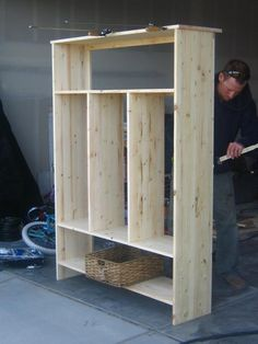 this would be great by the back door in the garage.    Stain to look dark/rustic.