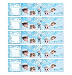Digital frozen Printable Birthday party water bottle label, wrapper on Etsy, $2.80