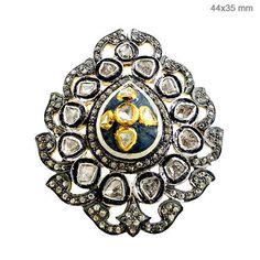 14K Gold Sapphire Gemstone Rose Cut Diamond Ring Vintage Style Sterling Silver #Handmade