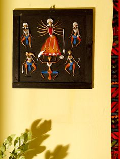 Terracotta Goddess Durga with her entire Family Wall Hanging at GroupShoppy