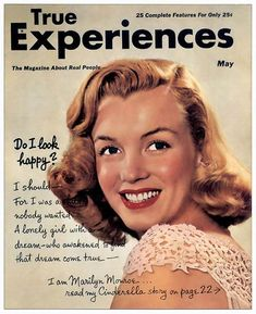 True Experiences magazine Front cover photo of Marilyn Monroe. ~ Pinned by Nathalie Gobbe, during the period of 1949 to Norma Jean Marilyn Monroe, Marilyn Monroe Photos, Pinup, Portrait Studio, Movie Magazine, Actrices Hollywood, Norma Jeane, Old Hollywood, Movie Stars