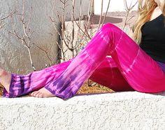 Tie Dye Yoga Pants in Dragon Fruit - Pink and Purple Pants