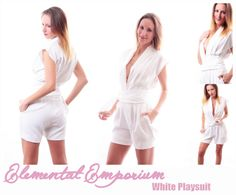 White sexy playsuit made by Elemental Emporium.