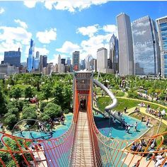 Loving this photo of Maggie Daley Park from Definitely a must-see spot in the city! Chicago Things To Do, Milwaukee City, Park Playground, Backyard Garden Design, My Kind Of Town, Facade Architecture, Future City, Places To Go, Landscape