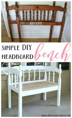 Best of Before & After Furniture Makeovers: Creative DIY Ways to Repurpose Your Old Furniture DIY Furniture Makeovers: DIY Headboard Bench. Diy Furniture Chair, Refurbished Furniture, Repurposed Furniture, Furniture Projects, Furniture Makeover, Home Furniture, Furniture Websites, Furniture Design, Handmade Furniture