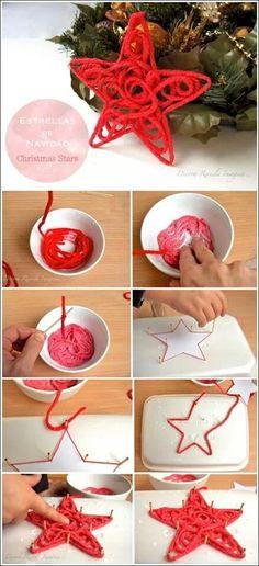 DIY Lana rígida, estrella Navidad, bolas