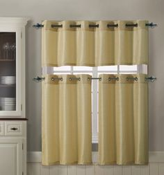 3 Piece Kitchen Curtain Set : 1 Valance, 2 Tiers, Solid Colors, Metal Grommets (Gold) VC http://www.amazon.com/dp/B00I2F1XII/ref=cm_sw_r_pi_dp_UzFVtb1MNWKBM4DA