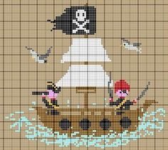 Pirates on a ship at sea. Sewing pattern graph: cross stitch, plastic canvas.