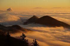 Foggy mountains along the France-Switzerland border