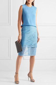 Diane von Furstenberg - Lace Pencil Skirt - Blue - US12