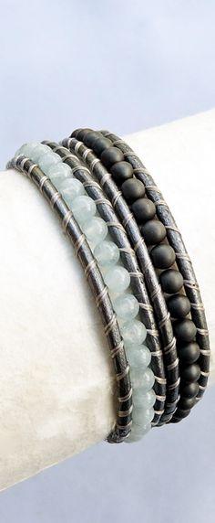 March Birthstone - Aquamarine. Real Aquamarine Gemstone and Matte Steel Grey Hematine Silver Leather Wrap Bracelet