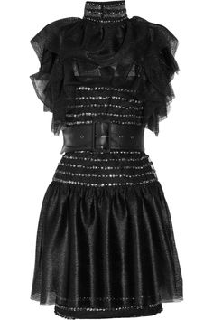 Tulle and mesh-lace mini dress, KARL