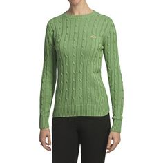 Salmon Cove Cotton Cable-Knit Sweater (For Women) in Light Green