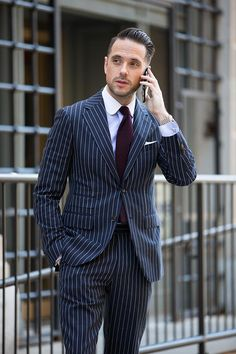 blue pinstripe Knot Standard suit | He Spoke Style