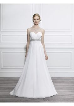 Jewel Court Train Chiffon A Line Wedding Dress