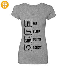 Eat Sleep Coffee Repeat Funny Black Graphic Women's V-Neck T-Shirt XX-Large (*Partner-Link)