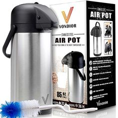 Airpot Coffee Dispenser with Pump - Insulated Stainless Steel Coffee Carafe oz.) - Thermal Beverage Dispenser - Thermos Urn for Hot/Cold Water, Party Chocolate Drinks Coffee Thermos, Coffee Cans, Coffee Maker, Coffee Shop, Coffee Dispenser, Drink Dispenser, Pots, Coffee Coupons, Hot Water Dispensers