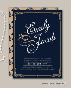 Classic Wedding Invitation - DIY PRINTABLE Me encanta pero no sé si es muy yo y no tan tú jajajaja