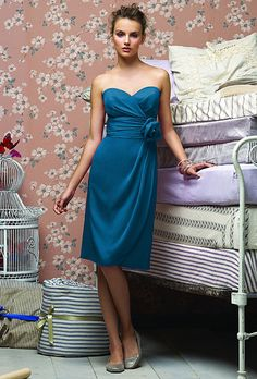 Brides.com: . Blue Bridesmaid Dress: Lela Rose. Sweetheart cocktail-length dress with flower detail, style LR149, $270, Lela Rose  See more Lela Rose bridesmaid dresses.  Shop this look at Weddington Way.
