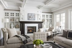 """""""Designer Marianne Simon's unique ability to work with neutral colors to create show stopping spaces is quite extraordinary. This living room is simply divine!"""""""
