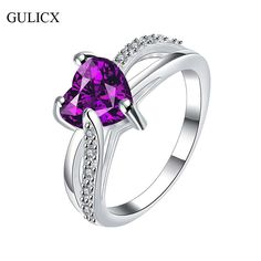 dd8165b9df45 GULICX Top Quality Cubic Zirconia Purple Crystal Heart Rings Silver-Color  Engagement   Wedding Ring. Anillo AmatistaCorazones ...