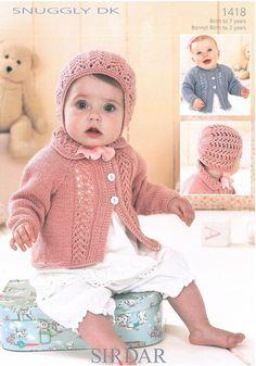 Cardigans & Bonnet in Sirdar Snuggly Dk - Babies - For - Patterns